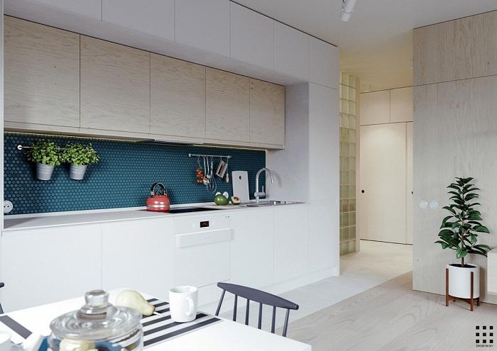 thiết kế căn hộ 20m2 đầy đủ tiện nghi khu vực bếp nấu ăn bàn ăn 1