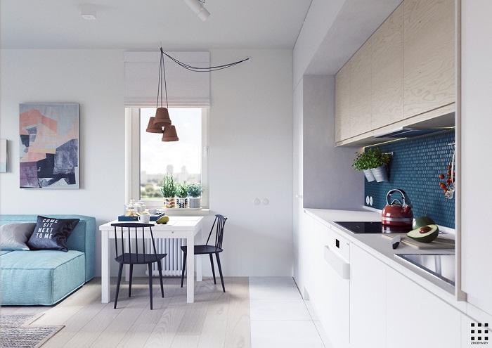 thiết kế căn hộ 20m2 đầy đủ tiện nghi khu vực bếp nấu ăn nhỏ xinh