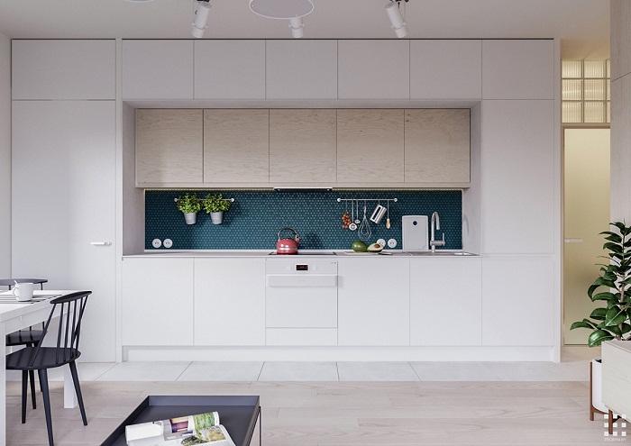 thiết kế căn hộ 20m2 đầy đủ tiện nghi khu vực bếp nấu ăn