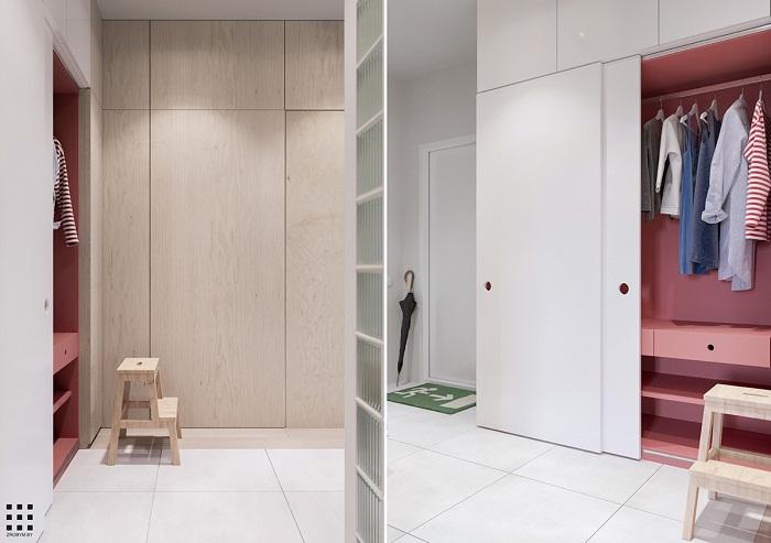 thiết kế căn hộ 20m2 đầy đủ tiện nghi lối ra vào 2
