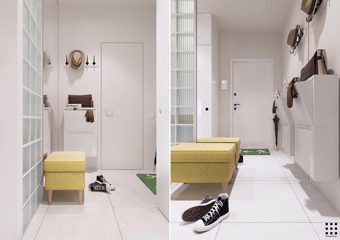 thiết kế căn hộ 20m2 đầy đủ tiện nghi lối ra vào