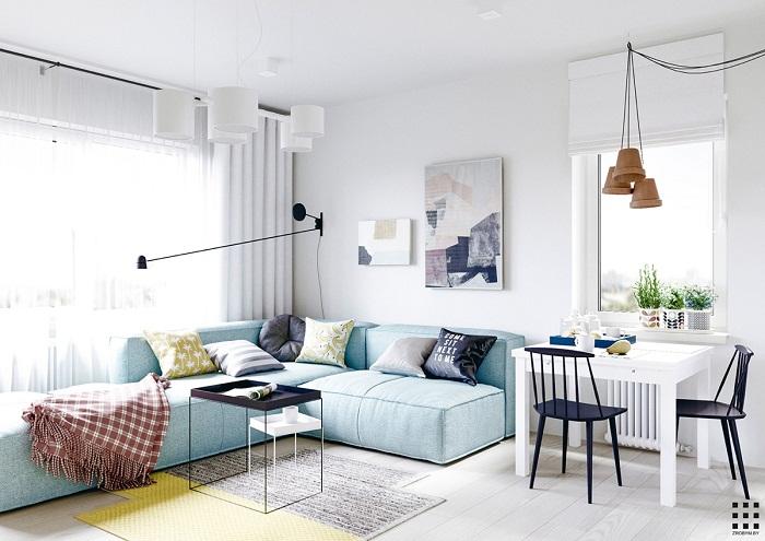 thiết kế căn hộ 20m2 đầy đủ tiện nghi phòng khách kết hợp bàn ăn
