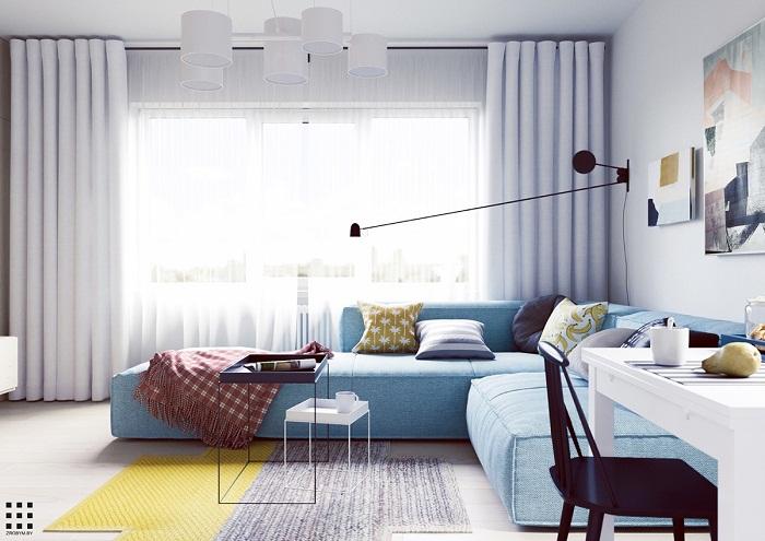 thiết kế căn hộ 20m2 đầy đủ tiện nghi phòng khách