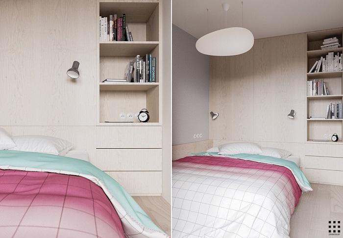 thiết kế căn hộ 20m2 đầy đủ tiện nghi phòng ngủ bố mẹ 1