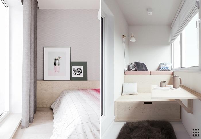 thiết kế căn hộ 20m2 đầy đủ tiện nghi phòng ngủ bố mẹ