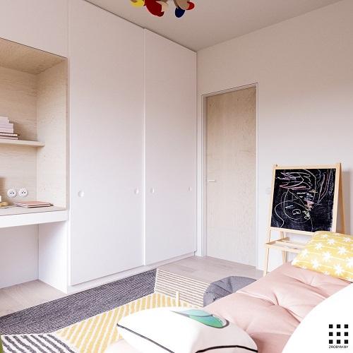 thiết kế căn hộ 20m2 đầy đủ tiện nghi phòng ngủ con 4
