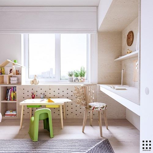 thiết kế căn hộ 20m2 đầy đủ tiện nghi phòng ngủ con 5