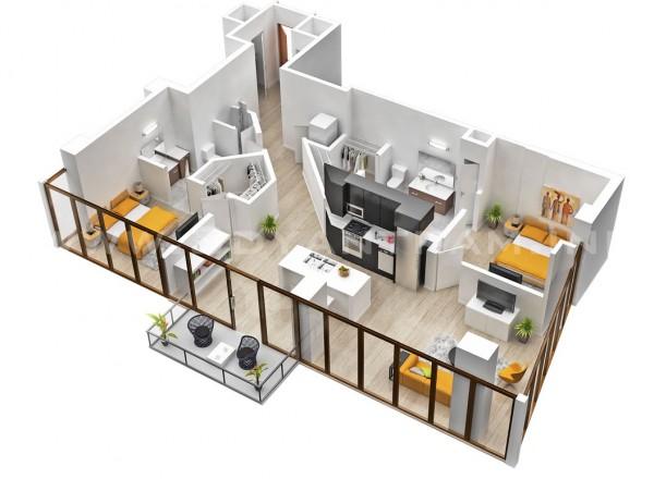 24 mẫu thiết kế căn hộ 2 phòng ngủ cho vợ chồng trẻ 1