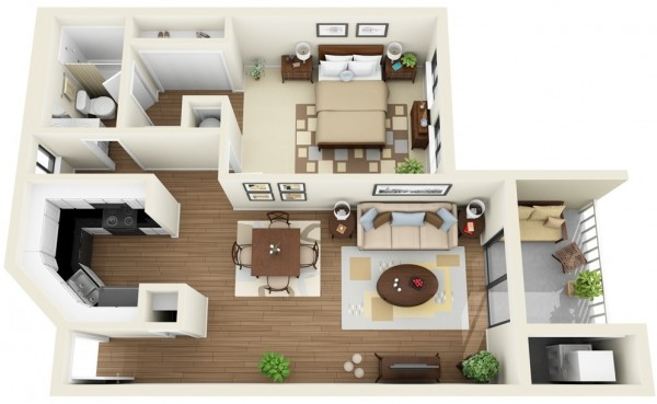 50 mẫu thiết kế căn hộ 1 phòng ngủ đẹp hiện đại 1