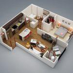 50 mẫu thiết kế căn hộ 1 phòng ngủ đẹp hiện đại 2