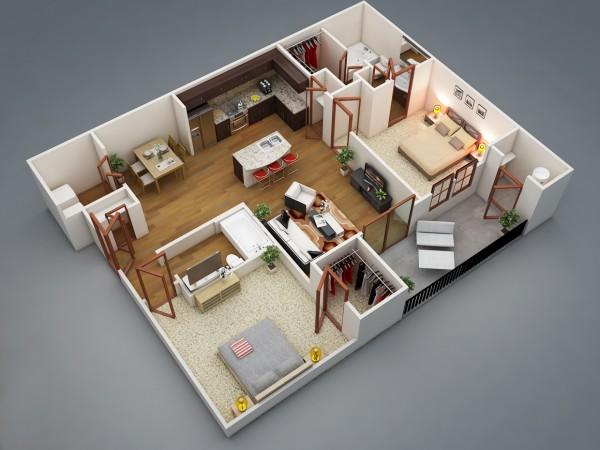Mẫu thiết kế căn hộ 2 phòng ngủ 1