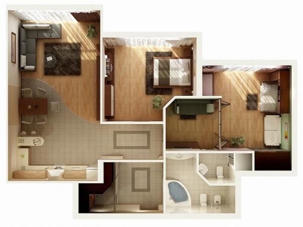 Mẫu thiết kế căn hộ 2 phòng ngủ 10