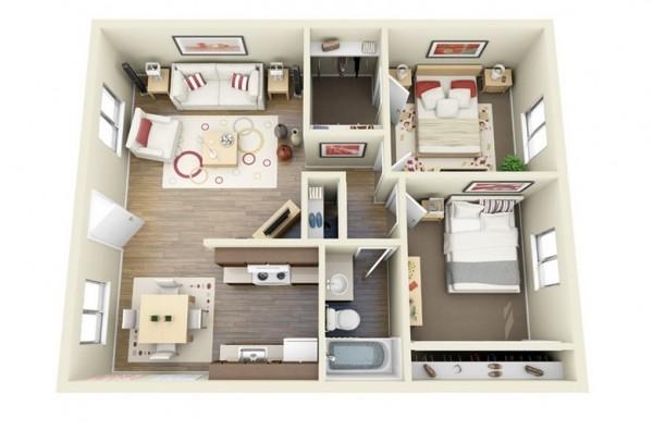 Mẫu thiết kế căn hộ 2 phòng ngủ 16