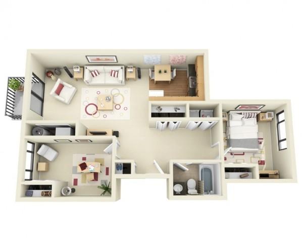 Mẫu thiết kế căn hộ 2 phòng ngủ 17