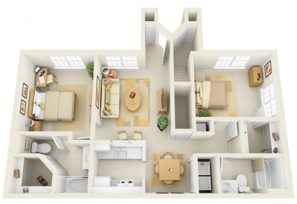 Mẫu thiết kế căn hộ 2 phòng ngủ 18
