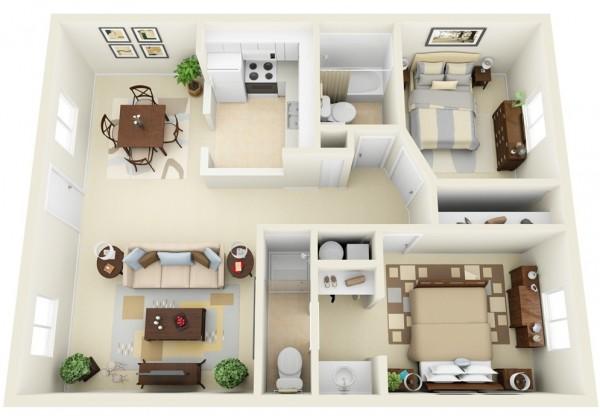 Mẫu thiết kế căn hộ 2 phòng ngủ 19