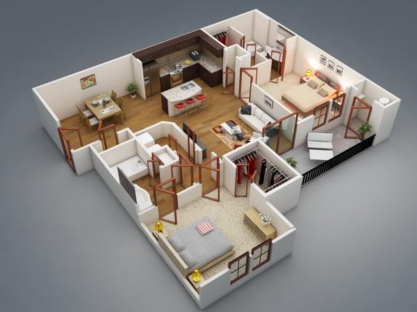 Mẫu thiết kế căn hộ 2 phòng ngủ 2