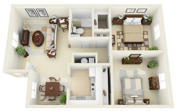 Mẫu thiết kế căn hộ 2 phòng ngủ 20