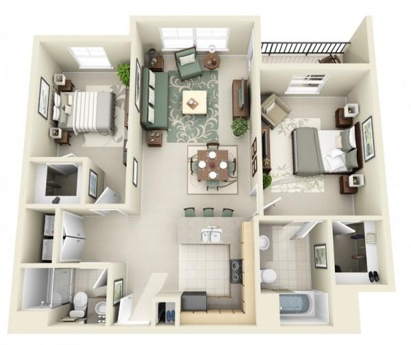 Mẫu thiết kế căn hộ 2 phòng ngủ 25