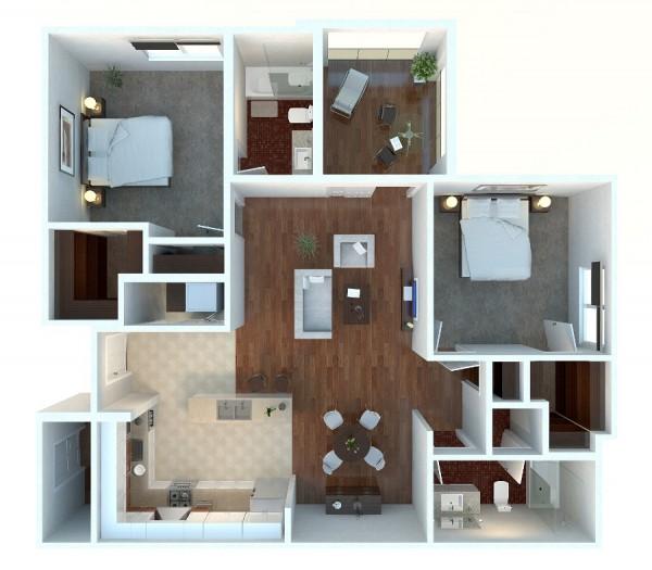 Mẫu thiết kế căn hộ 2 phòng ngủ 26