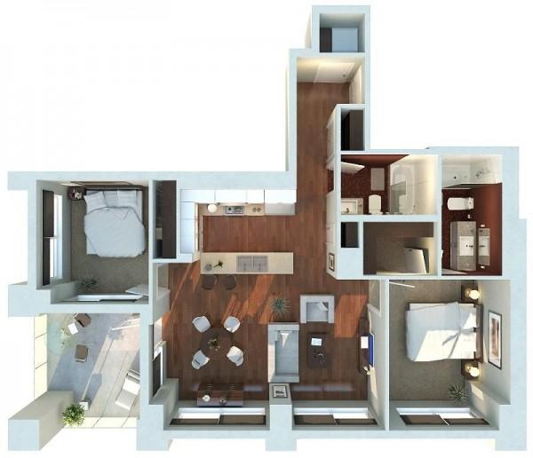 Mẫu thiết kế căn hộ 2 phòng ngủ 27