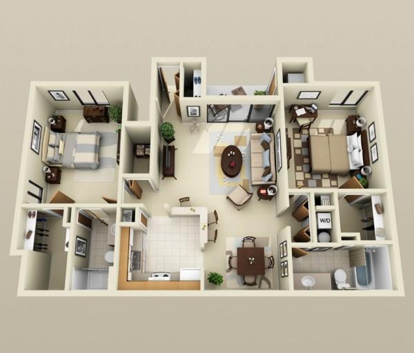 Mẫu thiết kế căn hộ 2 phòng ngủ 32