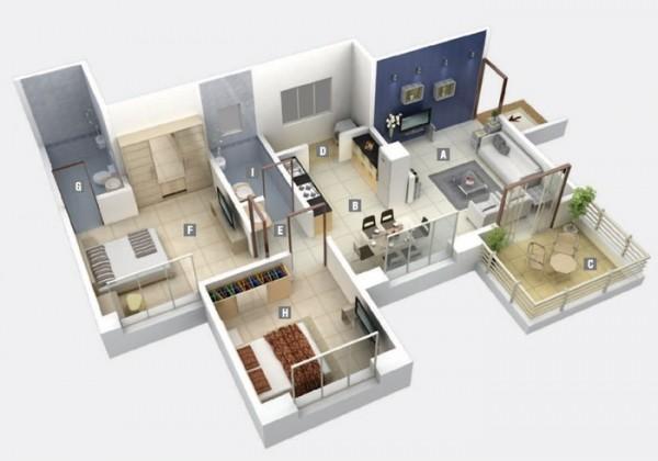 Mẫu thiết kế căn hộ 2 phòng ngủ 33
