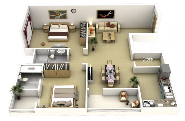 Mẫu thiết kế căn hộ 2 phòng ngủ 36