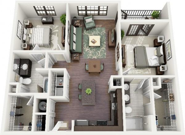 Mẫu thiết kế căn hộ 2 phòng ngủ 38