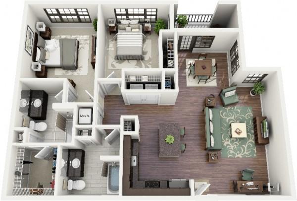 Mẫu thiết kế căn hộ 2 phòng ngủ 39