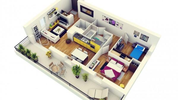 Mẫu thiết kế căn hộ 2 phòng ngủ 4