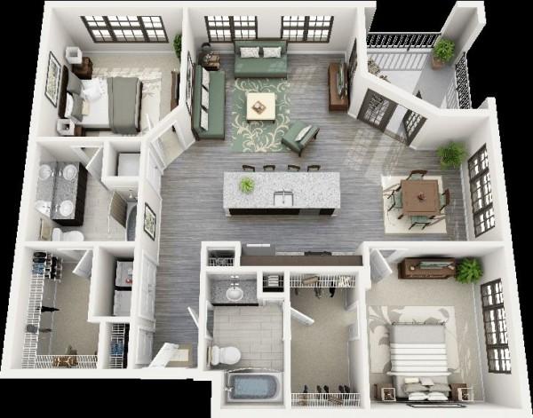 Mẫu thiết kế căn hộ 2 phòng ngủ 40