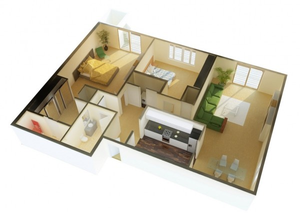 Mẫu thiết kế căn hộ 2 phòng ngủ 42