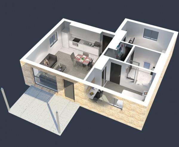 Mẫu thiết kế căn hộ 2 phòng ngủ 43