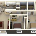 Mẫu thiết kế căn hộ 2 phòng ngủ 46