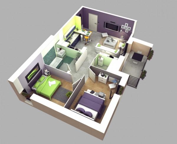 Mẫu thiết kế căn hộ 2 phòng ngủ 5