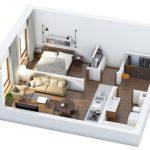 40+ mẫu thiết kế căn hộ có 1 phòng ngủ dành cho cặp vợ chồng trẻ 13