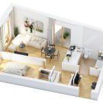 40+ mẫu thiết kế căn hộ có 1 phòng ngủ dành cho cặp vợ chồng trẻ 5