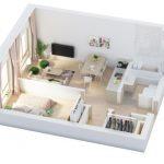 40+ mẫu thiết kế căn hộ có 1 phòng ngủ dành cho cặp vợ chồng trẻ 7