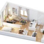 40+ mẫu thiết kế căn hộ có 1 phòng ngủ dành cho cặp vợ chồng trẻ 9