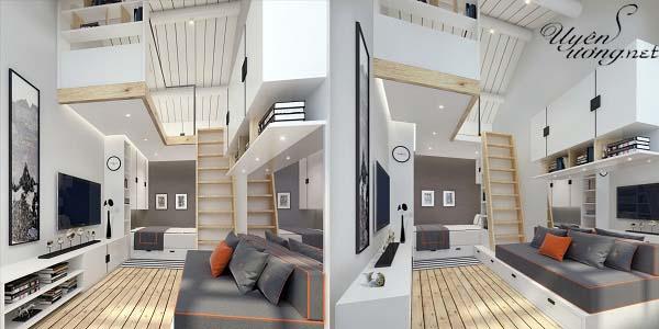 mẫu thiết kế căn hộ thông tầng 18