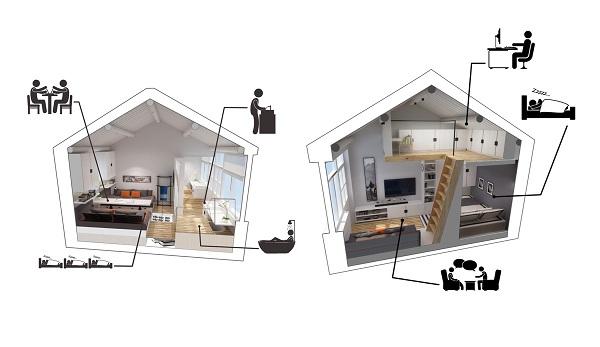 mẫu thiết kế căn hộ thông tầng 23