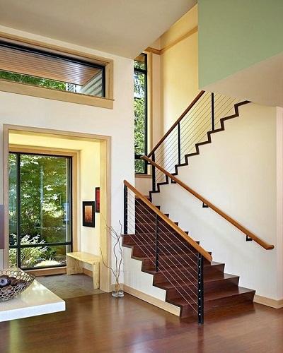mẫu thiết kế cầu thang đẹp được làm từ gỗ sắt kính inox 1