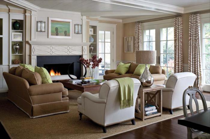 Dùng thảm trải sàn phòng khách để tạo nhận diện khu vực