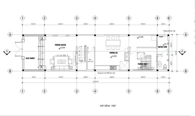 Bản vẽ mặt cắt ngang tầng 1 mẫu nhà 2 tầng