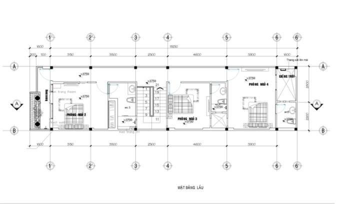 Bản vẽ mặt cắt ngang tầng 2 mẫu nhà 2 tầng