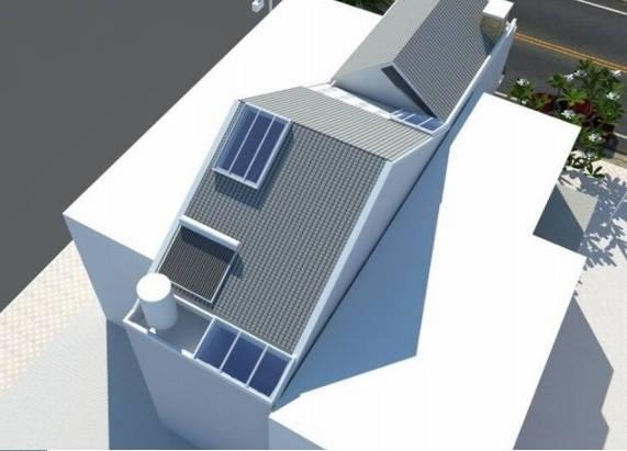 thiết kế phần mái mẫu nhà đẹp 2 tầng