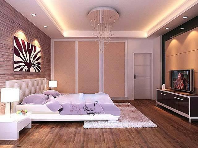 Phòng ngủ đẹp màu tím mọng mơ